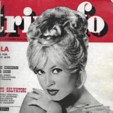 Coleccionismo de Revista Temas Españoles: REVISTA TRIUNFO Nº 823 AÑO 1961 EN PORTADA BRIGITTE B. INTERIOR LOLA BAUTIZO POR TODO LO ALTO. Lote 234355900
