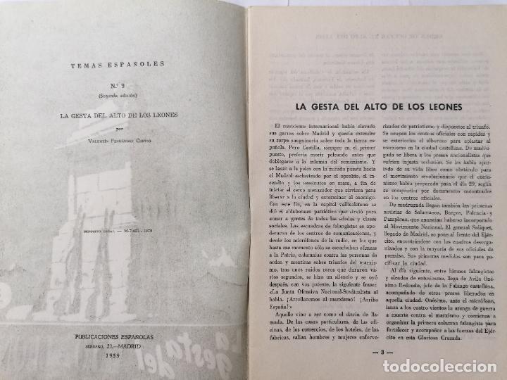 Coleccionismo de Revista Temas Españoles: REVISTA TEMAS ESPAÑOLES, Nº 9,LA GESTA DEL ALTO DE LOS LEONES, 2ª EDICION, AÑO 1959 - Foto 2 - 261653080