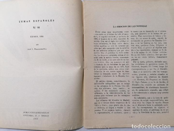 Coleccionismo de Revista Temas Españoles: REVISTA TEMAS ESPAÑOLES, Nº 98, ESPAÑA 1898, AÑO 1954 - Foto 2 - 261653145