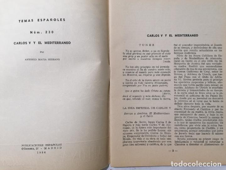 Coleccionismo de Revista Temas Españoles: REVISTA TEMAS ESPAÑOLES, Nº 230, CARLOS V Y EL MEDITERRANEO, AÑO 1956 - Foto 2 - 261653185