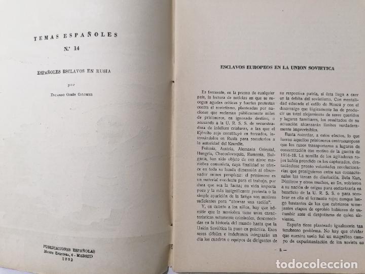 Coleccionismo de Revista Temas Españoles: REVISTA TEMAS ESPAÑOLES, Nº 14, ESPAÑOLES ESCLAVOS EN RUSIA, AÑO 1952 - Foto 2 - 261653210