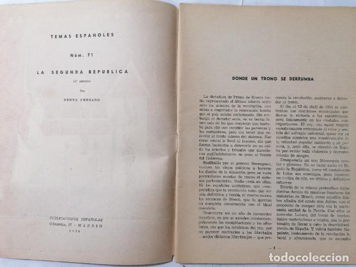 Coleccionismo de Revista Temas Españoles: REVISTA TEMAS ESPAÑOLES, Nº 71, HISTORIA DE LA 2ª REPUBLICA, AÑO 1956 - Foto 2 - 261794220