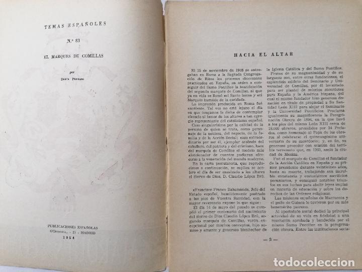 Coleccionismo de Revista Temas Españoles: REVISTA TEMAS ESPAÑOLES, Nº 83, EL MARQUES DE COMILLAS, AÑO 1954 - Foto 2 - 261794545
