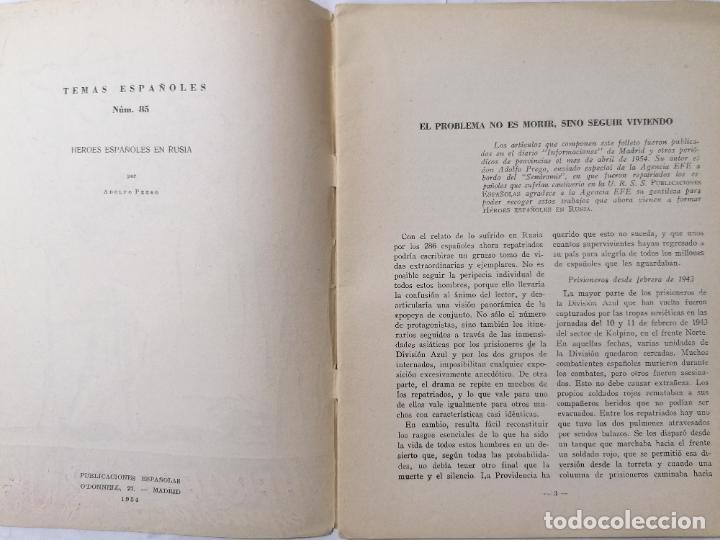 Coleccionismo de Revista Temas Españoles: REVISTA TEMAS ESPAÑOLES, Nº 85, HEROES ESPAÑOLES EN RUSIA, AÑO 1954 - Foto 2 - 261794650