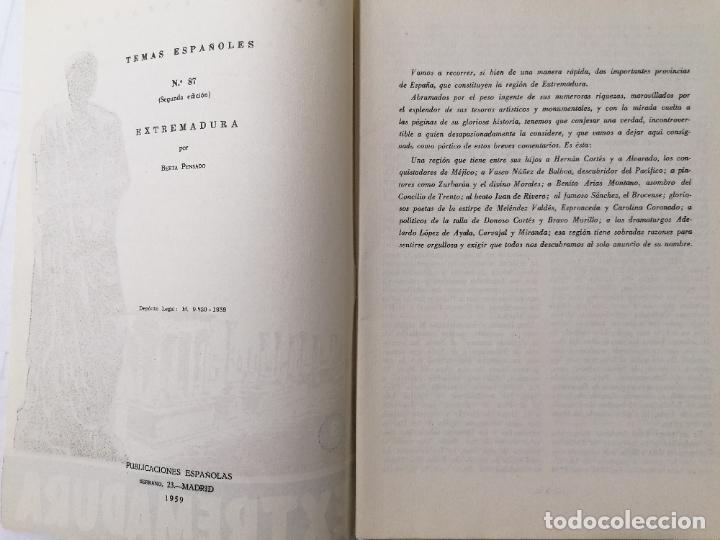 Coleccionismo de Revista Temas Españoles: REVISTA TEMAS ESPAÑOLES, Nº 87, EXTREMADURA, 2ª EDICION, AÑO 1959 - Foto 2 - 261794705