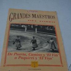 Coleccionismo de Revista Temas Españoles: GRANDES MAESTROS DEL TOREO CAPITULO 5.REVISTA PANORAMA. Lote 293463208