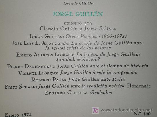 Coleccionismo de Revista Tiempo: JORGE GUILLÉN. NÚMERO MONOGRÁFICO DE REVISTA DE OCCIDENTE. - Foto 2 - 50373745