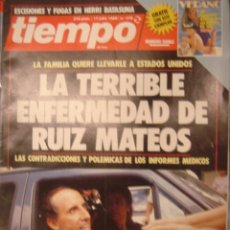 Coleccionismo de Revista Tiempo: REVISTA TIEMPO Nº 376-L TERRIBLE ENFERMEDAD DE RUIZ MATEOS. Lote 35753629
