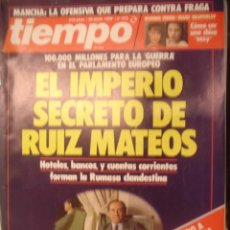 Coleccionismo de Revista Tiempo: REVISTA TIEMPO Nº 373 EL IPERIO SECRETO DE RUIZ MATEOS. Lote 35753653