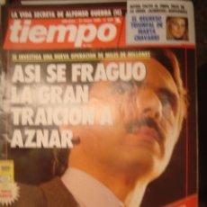 Coleccionismo de Revista Tiempo: REVISTA TIEMPO Nº 420. ASI SE FRAGUO LA GRAN TRAICION A AZNAR. Lote 35760211