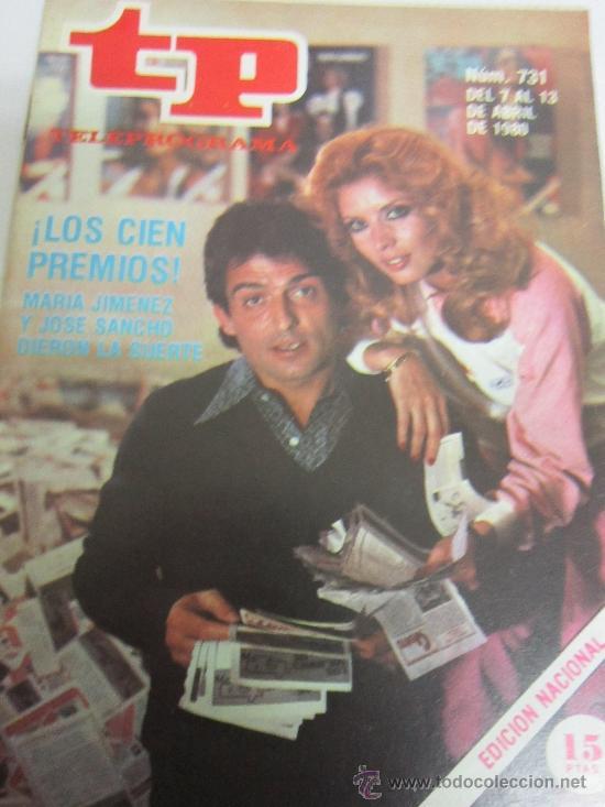 TP MARIA JIMENEZ Y PEPE SANCHO.(DEL 7 AL 13 DE ABRIL DE 1980) (Coleccionismo - Revistas y Periódicos Modernos (a partir de 1.940) - Revista Tiempo)