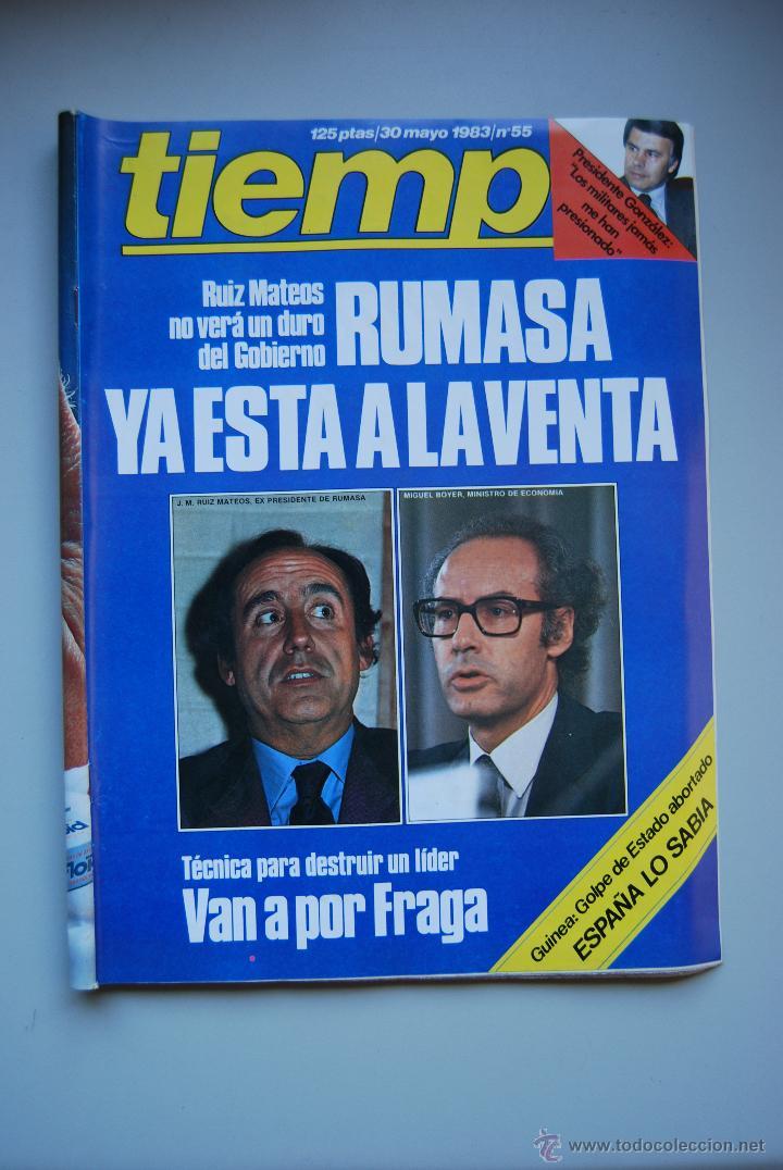 REVISTA TIEMPO.NUM. 55 -AÑO 1983 : RUMASA A LA VENTA- VAN A POR FRAGA-GUINEA, GOLPE DE ESTADO (Coleccionismo - Revistas y Periódicos Modernos (a partir de 1.940) - Revista Tiempo)
