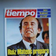 Coleccionismo de Revista Tiempo: REVISTA TIEMPO.NUM. 181 -AÑO 1985 : RUIZ MATEOS PREPARA UN WATERGATE-SUAREZ, NO GOBERNARE CON PSOE. Lote 48699054