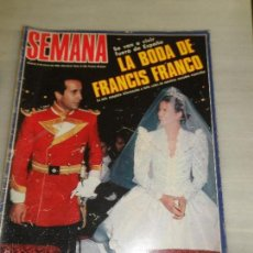 Coleccionismo de Revista Tiempo: REVISTA SEMANA Nº 2185 LA BODA DE FRANCIS FRANCO. Lote 57998766