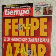 Coleccionismo de Revista Tiempo: REVISTA TIEMPO Nº 579 ,1993 -FELIPE , AZNAR -JULIO ANGUITA -J.Mª CARRASCAL - CANCER - MICK JAGGER. Lote 67194897