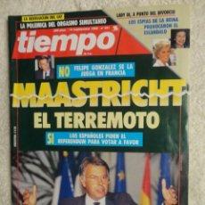 Coleccionismo de Revista Tiempo: REVISTA TIEMPO Nº 541 AÑO 1992 -MAASTRICHT -AZNAR -PNV -PENELOPE CRUZ -JOAN MANUEL SERRAT-SATELITES. Lote 67339981