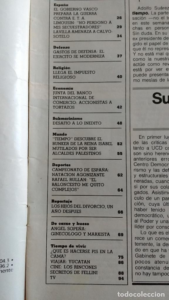 Coleccionismo de Revista Tiempo: REVISTA TIEMPO Nº 16-1982 - ENTREVISTA A FRANCISCO LIMOUSIN - ANGEL SOPEÑA - RAFAEL RULLAN - FELLINI - Foto 3 - 84941688