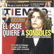 Coleccionismo de Revista Tiempo: TIEMPO. 1075. DICIEMBRE 2002. EL PSOE QUIERE A SONSOLES EN LA CAMPAÑA ELECTORAL. Lote 133870110