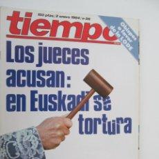Coleccionismo de Revista Tiempo: REVISTA TIEMPO Nº 86 ENERO 1984 - LOS JUECES ACUSAN: EN EUSKADI SE TORTURA. Lote 134041698