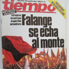 Coleccionismo de Revista Tiempo: REVISTA TIEMPO Nº 71 SEPTIEMBRE 1983 - FALANGE SE ECHA AL MONTE. Lote 134043250