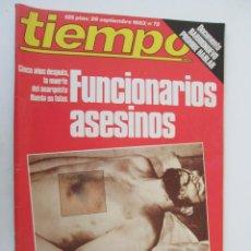 Coleccionismo de Revista Tiempo: REVISTA TIEMPO Nº 72 SEPTIEMBRE 1983 - FUNCIONARIOS ASESINOS. Lote 134043574