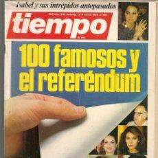 Coleccionismo de Revista Tiempo: REVISTA TIEMPO. Nº 199. 100 FAMOSOS Y EL REFERÉNDUM / ISABEL PREYSLER. 3 MARZO 1986. (P/B78). Lote 134827738