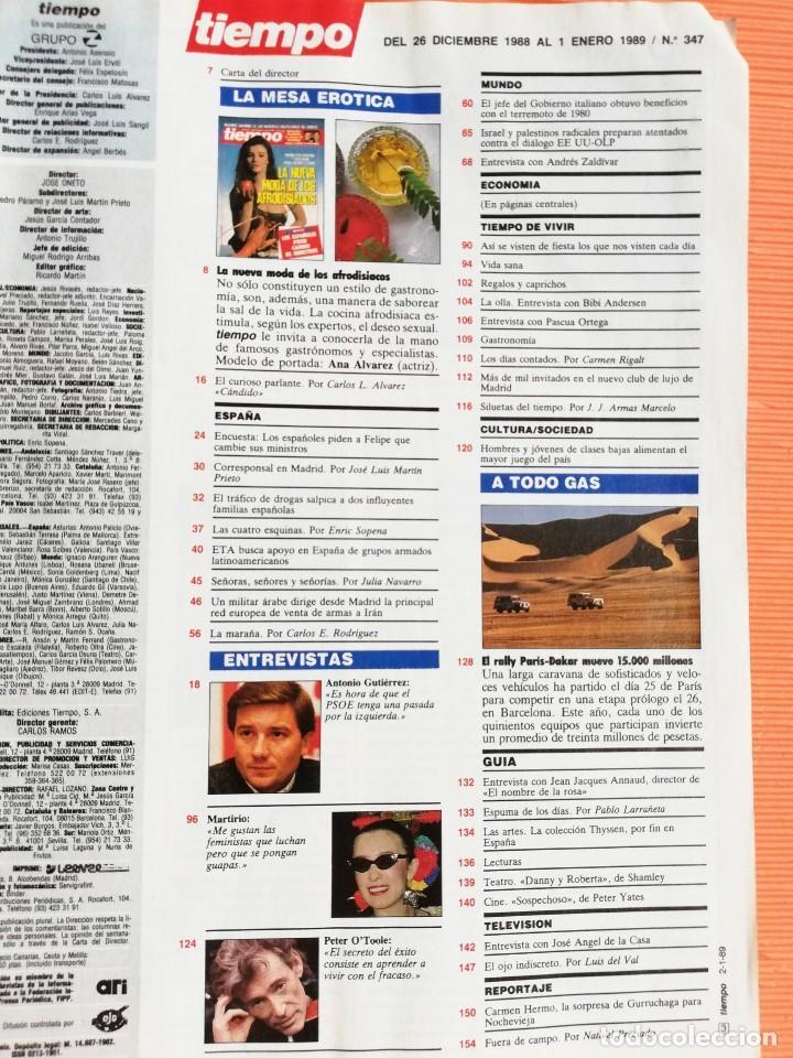 Coleccionismo de Revista Tiempo: TIEMPO DE HOY Nº 347. LA NUEVA MODA DE LOS AFRODISÍACOS. MADRID ENCUBRE TRAFICANTES ARMAS - Foto 2 - 142558870