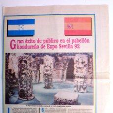 Coleccionismo de Revista Tiempo: NOTICIA DE DIARIO TIEMPO: GRAN ÉXITO DE PÚBLICO EN EL PABELLÓN HONDUREÑO DE EXPO SEVILLA 92. Lote 155885578