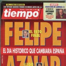 Coleccionismo de Revista Tiempo: TIEMPO Nº 579 FELIPE / AZNAR DIA HISTORICO - EL DRAMA DE JULIO ANGUITA-MICK JAGGER 1993 BUEN ESTADO. Lote 171723333