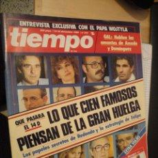 Coleccionismo de Revista Tiempo: REVISTA TIEMPO. DICIEMBRE 1988. Nº 344. LO QUE CIEN FAMOSOS PIENSAN DE LA GRAN HUELGA.. Lote 177016677