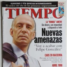 Coleccionismo de Revista Tiempo: REVISTA TIEMPO - NÚMERO 861 - 2 NOVIEMBRE 1998 - AMEDO, FELIPE GONZÁLEZ, AMENAZAS, PINOCHET, ETA. Lote 186287447