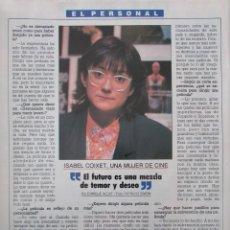 Coleccionismo de Revista Tiempo: RECORTE REVISTA TIEMPO Nº 337 1988 ISABEL COIXET. ISABEL BOSCH. Lote 191576078
