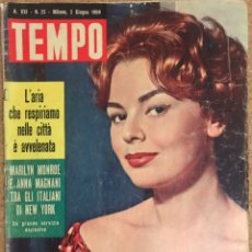 Coleccionismo de Revista Tiempo: REVISTA TEMPO 1959 NUMERO 22 AÑO XXI MILAN PORTADA ROSSANA ROSSANIGO MARILYN MONROE TIEMPO ITALIANA. Lote 238150430