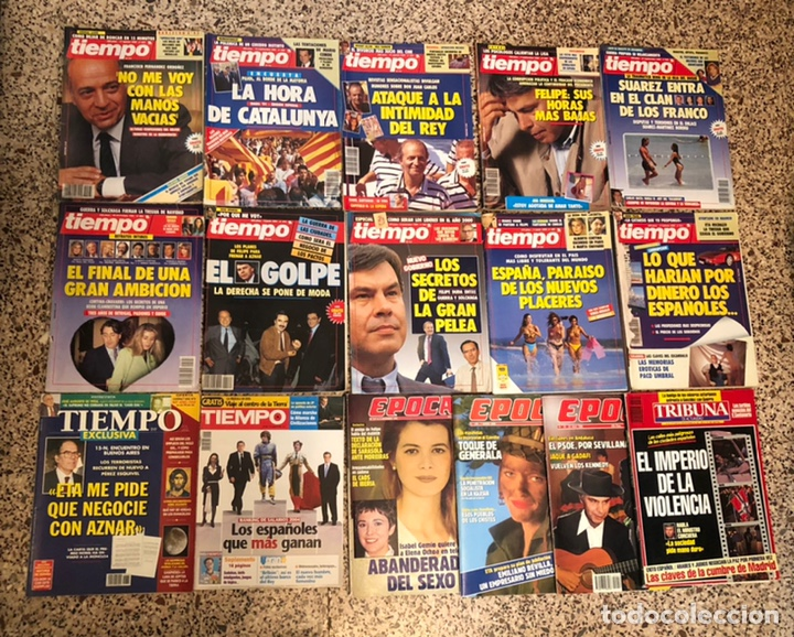 LOTE 16 REVISTAS TIEMPO POLÍTICA ÉPOCA TRIBUNA AÑOS 80-90 (Coleccionismo - Revistas y Periódicos Modernos (a partir de 1.940) - Revista Tiempo)