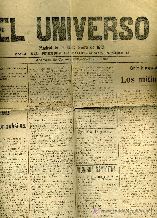 PERIODICO EL UNIVERSO.1910. MUERTE DEL MARQUES VIUDO DE MEDINA. JOSE GUTIERREZ MATURANA. (Coleccionismo - Revistas y Periódicos Antiguos (hasta 1.939))
