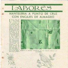 Coleccionismo de Revistas y Periódicos: PÁGINA DE BORDADO:MANTELERÍA A PUNTO DE CRUZ CON ENCAJES DE ALMAGRO. Lote 27246830