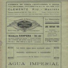 Coleccionismo de Revistas y Periódicos: BOLETIN DE MANRESA. 1930. NUM 2. MANRESA. PUBLICIDAD DE FABRICA DE LEGIA. L' ENGLANTINA . PASTISSERI. Lote 4663553