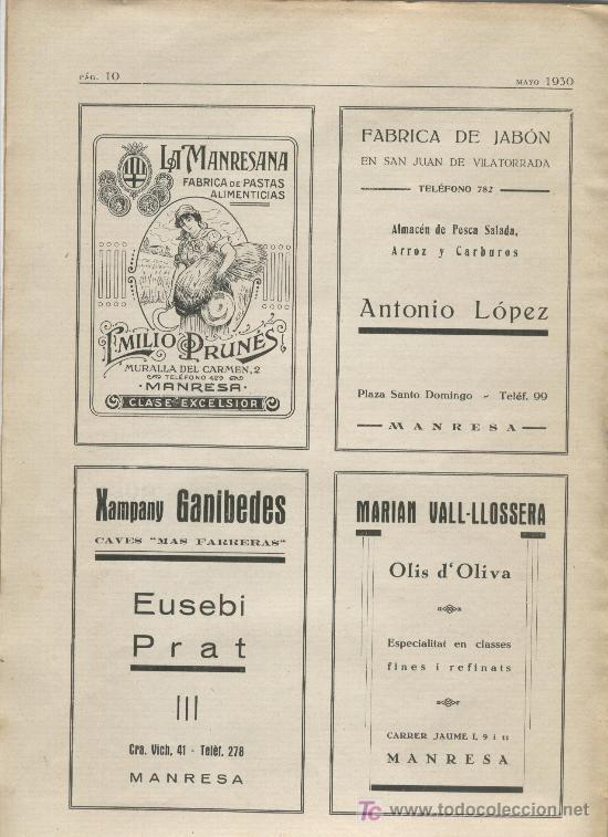 BOLETIN DE MANRESA. 1930. NUM 4.FABRICA DE JABON EN VILATORRADA. XAMPANY GANIBEDES.CAVA (Coleccionismo - Revistas y Periódicos Antiguos (hasta 1.939))