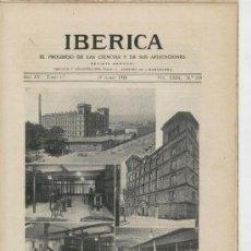 Coleccionismo de Revistas y Periódicos: IBERICA.719.AÑO 1928.ESCUELA DE INGENIEROS INDUSTRIALES DE BARCELONA.TELEQUINESIA.ESCUELA DE CARDONA. Lote 21704024