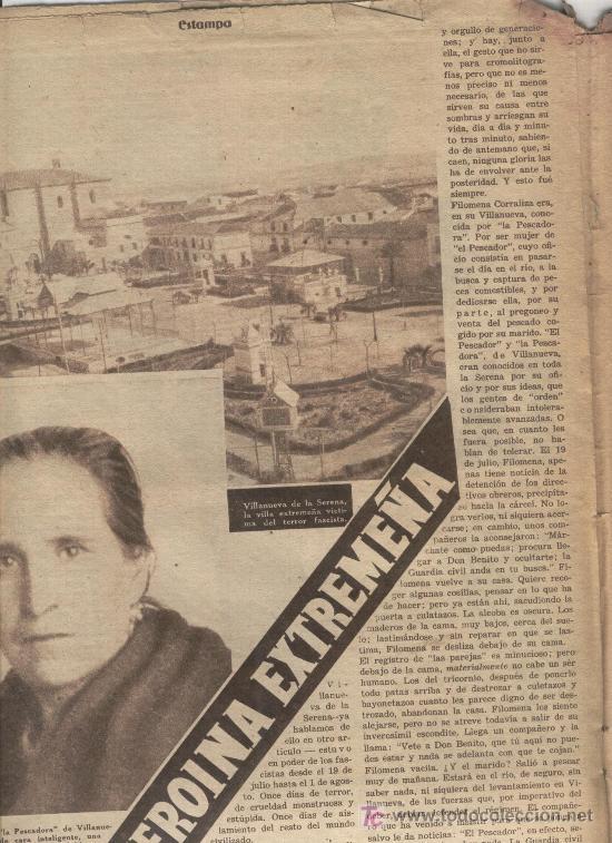 ESTAMPA 1937 GUERRA CIVIL PESCADORA DE VILLANUEVA DE LA SERENA F. CORRALIZA KOMSOMOL HITLER (Coleccionismo - Revistas y Periódicos Antiguos (hasta 1.939))