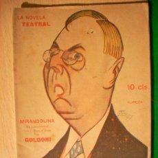 Coleccionismo de Revistas y Periódicos: REVISTA LITERARIA: LA NOVELA TEATRAL. GOLDONI // MIRANDOLINA. 23 SEPT 1917 . Lote 5587894