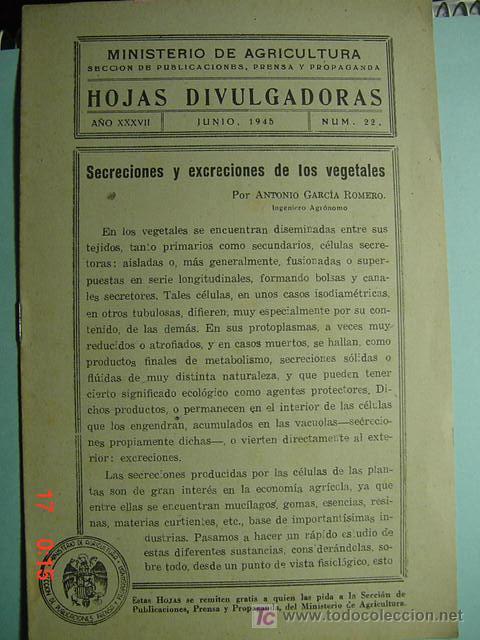 1274 HOJAS DIVULGADORAS SECRECIONES Y EXCRECIONES DE LOS VEGETALES AÑO 1945 C&C (Coleccionismo - Revistas y Periódicos Modernos (a partir de 1.940) - Otros)