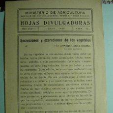 Coleccionismo de Revistas y Periódicos: 1274 HOJAS DIVULGADORAS SECRECIONES Y EXCRECIONES DE LOS VEGETALES AÑO 1945 C&C. Lote 5680986