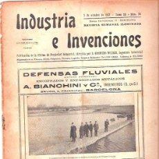 Coleccionismo de Revistas y Periódicos: INDUSTRIA E INVENCIONES. REVISTA SEMANAL ILUSTRADA. TOMO 58 BARCELONA. 1912.. Lote 22586778