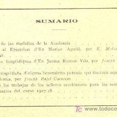 Coleccionismo de Revistas y Periódicos: REAL ACADEMIA DE BUENAS LETRAS DE BARCELONA. BOLETÍN. NÚMS. 96 Y 97. AÑO 1927. MÁS NÚMEROS. Lote 7572128