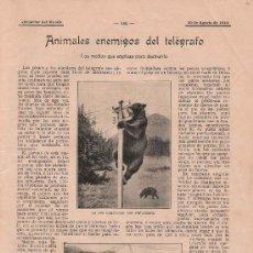 Coleccionismo de Revistas y Periódicos: ANIMALES ENEMIGOS DEL TELÉGRAFO – 1910 * ETOLOGÍA *. Lote 18103511
