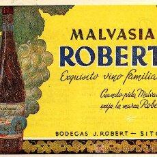 Coleccionismo de Revistas y Periódicos: ANTIGUA PUBLICIDAD DE MALVASIA ROBERT. Lote 7924248