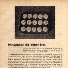 Coleccionismo de Revistas y Periódicos: ANTIGUA PÁGINA CON DOS RECETAS, POLVORONES DE ALMENDRAS, PASTEL DE BRIOCHE PARISIEN. Lote 7924764