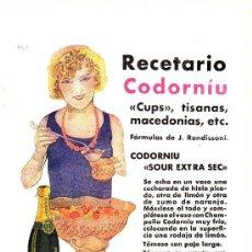 Coleccionismo de Revistas y Periódicos: ANTIGUA PUBLICIDAD DE RECETARIO CODORNIU - CODORNIU SOUR EXTRA SEC. Lote 7932777