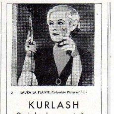 Coleccionismo de Revistas y Periódicos: ANTIGUA PUBLICIDAD DE KURLASH - ONDULA LAS PESTAÑAS INSTANTÁNEAMENTE. Lote 7936856